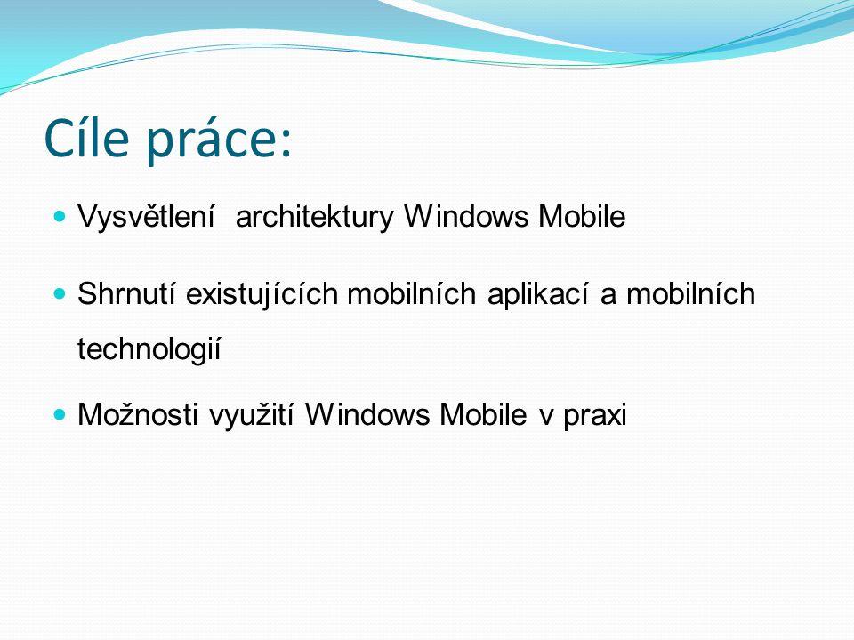 Cíle práce: Vysvětlení architektury Windows Mobile