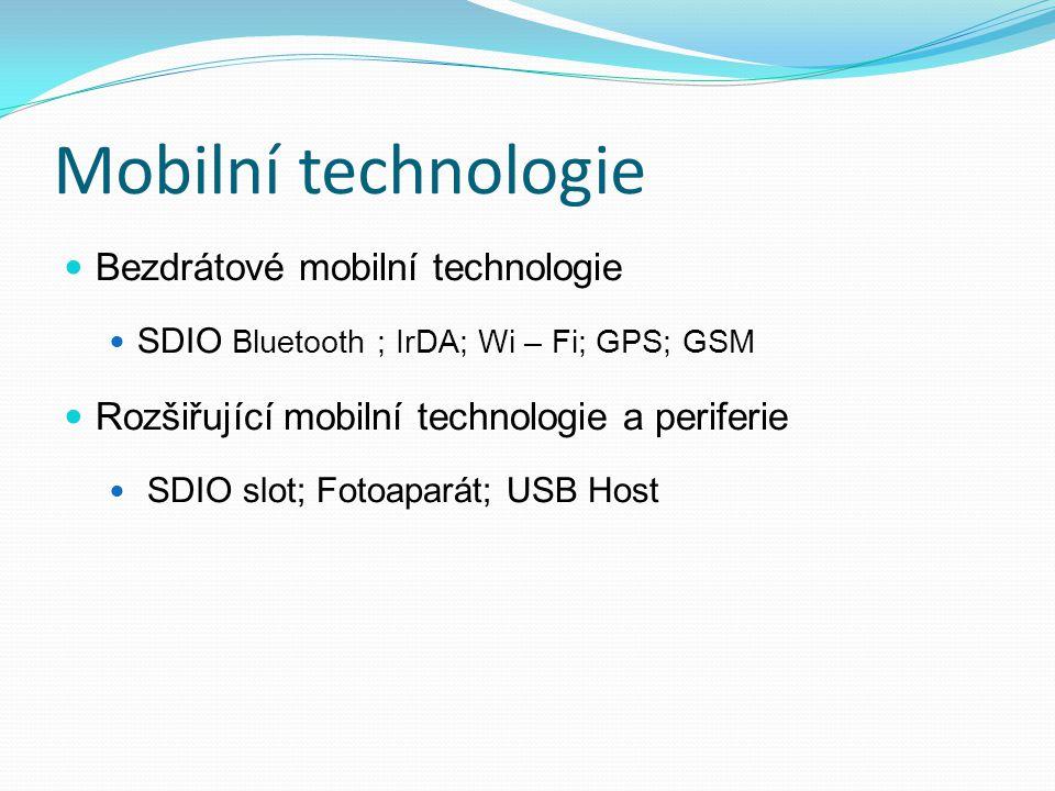 Mobilní technologie Bezdrátové mobilní technologie