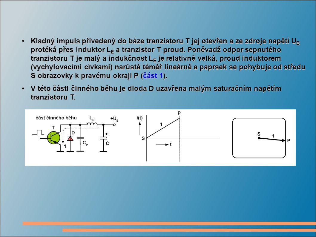 Kladný impuls přivedený do báze tranzistoru T jej otevřen a ze zdroje napětí UB protéká přes induktor LE a tranzistor T proud. Poněvadž odpor sepnutého tranzistoru T je malý a indukčnost LE je relativně velká, proud induktorem (vychylovacími cívkami) narůstá téměř lineárně a paprsek se pohybuje od středu S obrazovky k pravému okraji P (část 1).