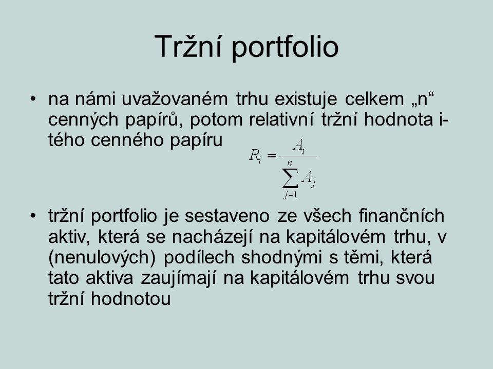 """Tržní portfolio na námi uvažovaném trhu existuje celkem """"n cenných papírů, potom relativní tržní hodnota i-tého cenného papíru."""