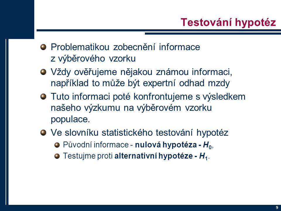 Testování hypotéz Problematikou zobecnění informace z výběrového vzorku.