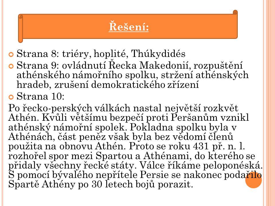Řešení: Strana 8: triéry, hoplité, Thúkydidés