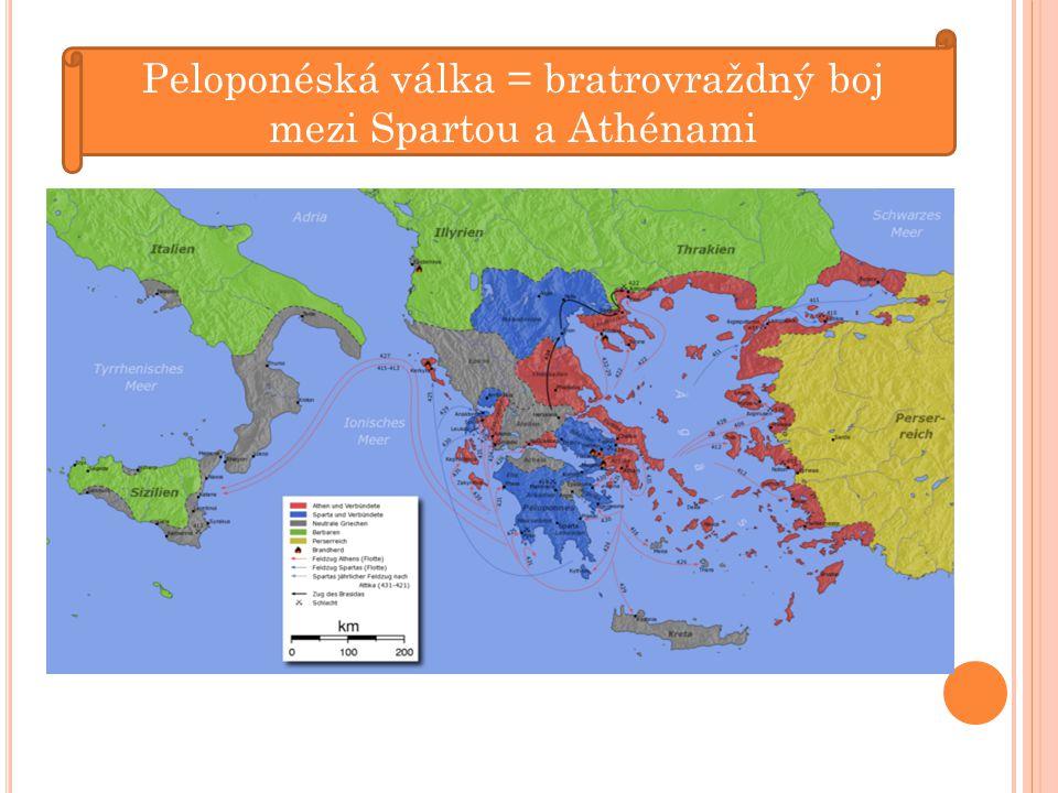 Peloponéská válka = bratrovraždný boj mezi Spartou a Athénami