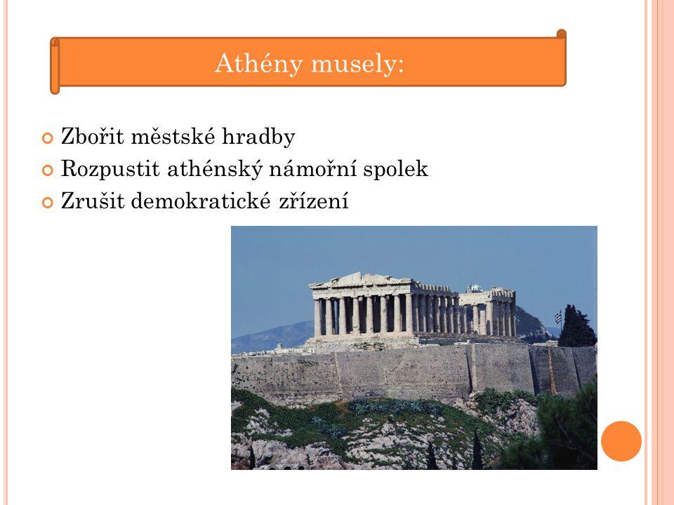 Athény musely: Zbořit městské hradby Rozpustit athénský námořní spolek