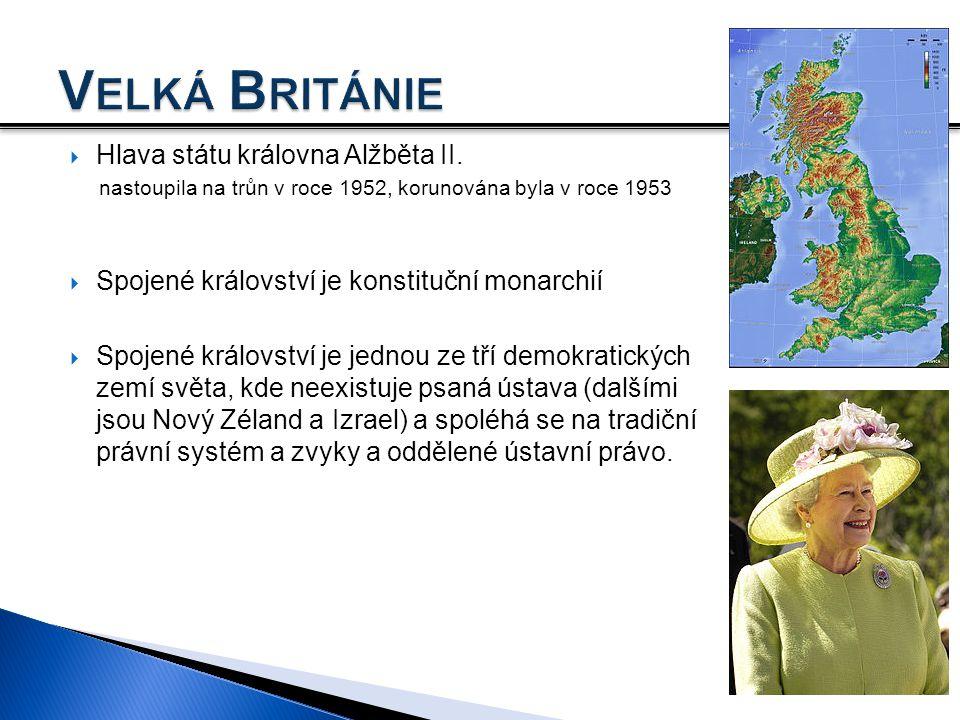 Velká Británie Hlava státu královna Alžběta II.