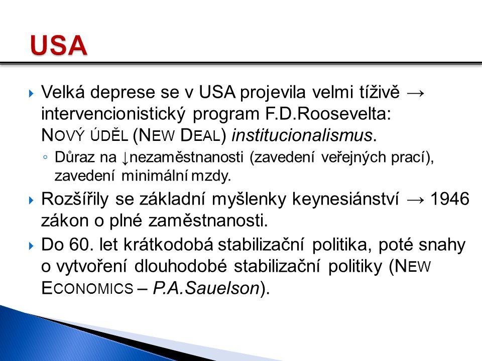 USA Velká deprese se v USA projevila velmi tíživě → intervencionistický program F.D.Roosevelta: Nový úděl (New Deal) institucionalismus.