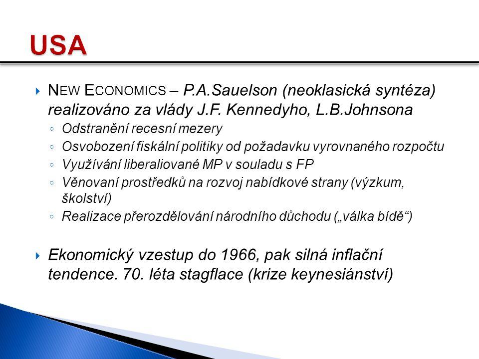 USA New Economics – P.A.Sauelson (neoklasická syntéza) realizováno za vlády J.F. Kennedyho, L.B.Johnsona.