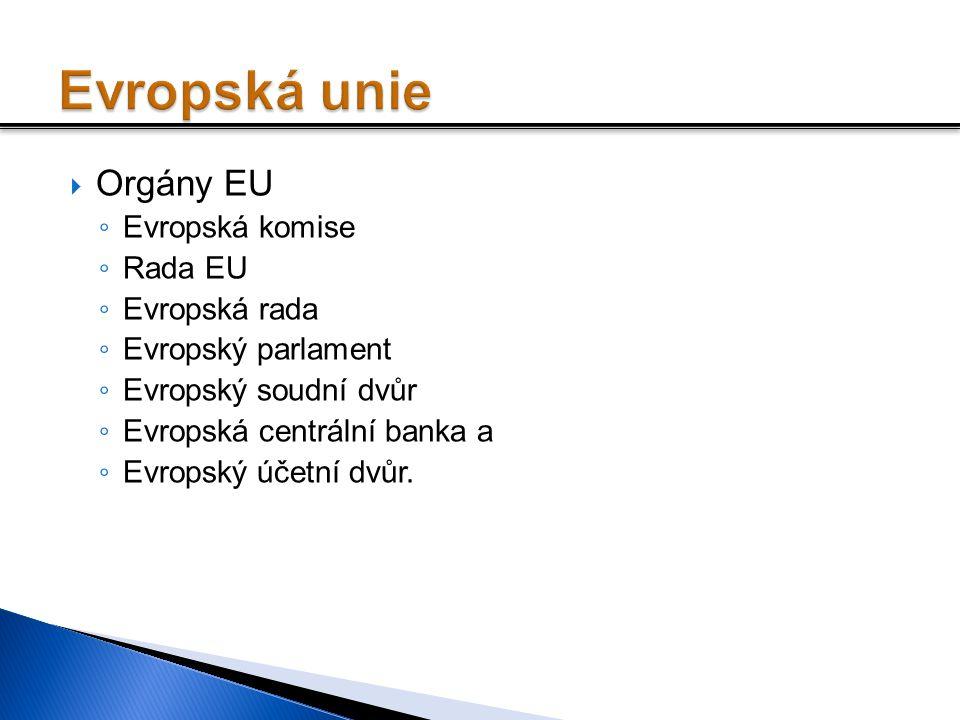 Evropská unie Orgány EU Evropská komise Rada EU Evropská rada