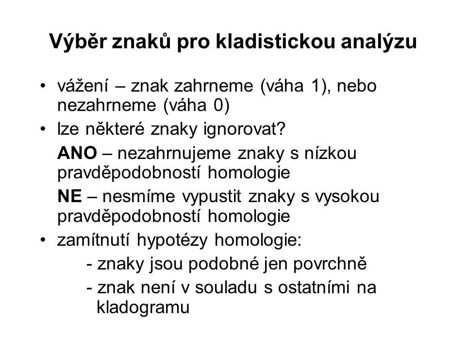 Výběr znaků pro kladistickou analýzu