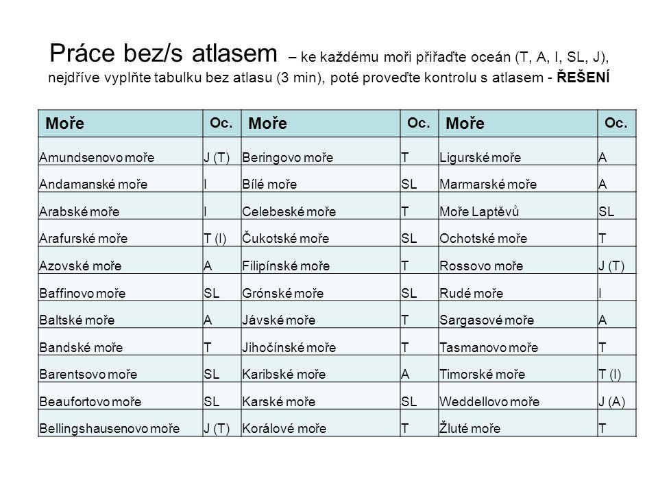 Práce bez/s atlasem – ke každému moři přiřaďte oceán (T, A, I, SL, J), nejdříve vyplňte tabulku bez atlasu (3 min), poté proveďte kontrolu s atlasem - ŘEŠENÍ