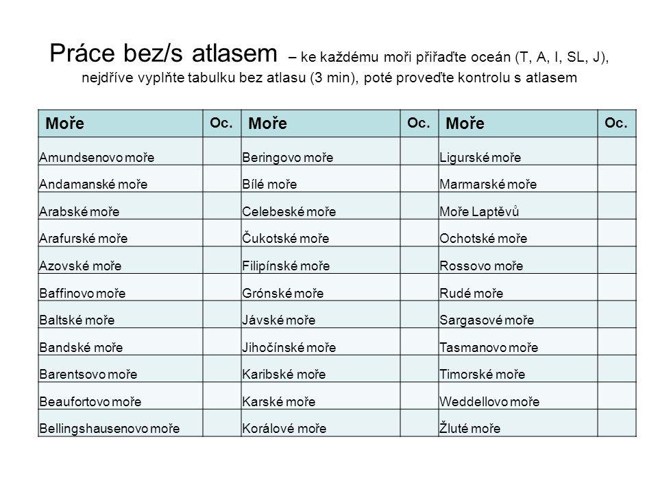 Práce bez/s atlasem – ke každému moři přiřaďte oceán (T, A, I, SL, J), nejdříve vyplňte tabulku bez atlasu (3 min), poté proveďte kontrolu s atlasem