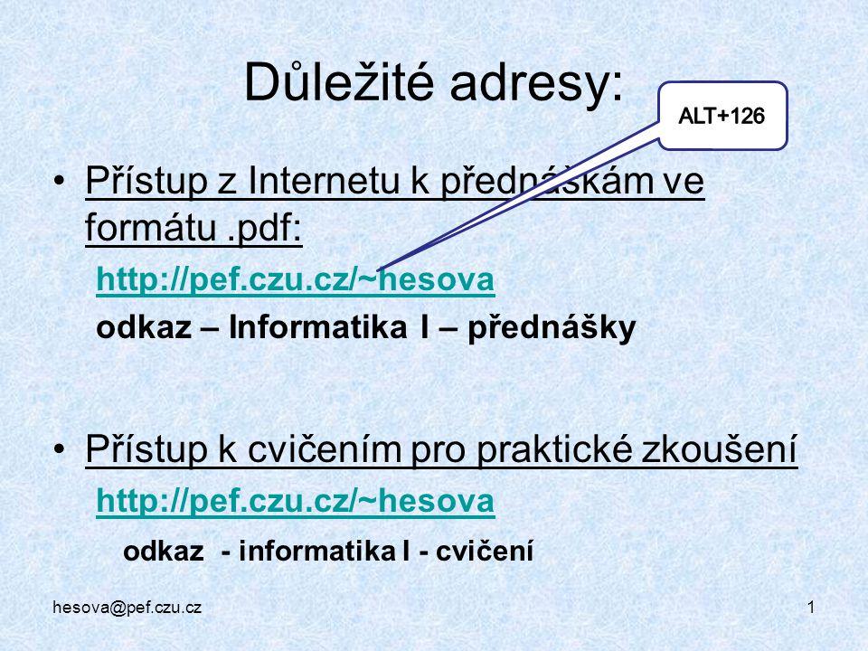 Důležité adresy: Přístup z Internetu k přednáškám ve formátu .pdf: