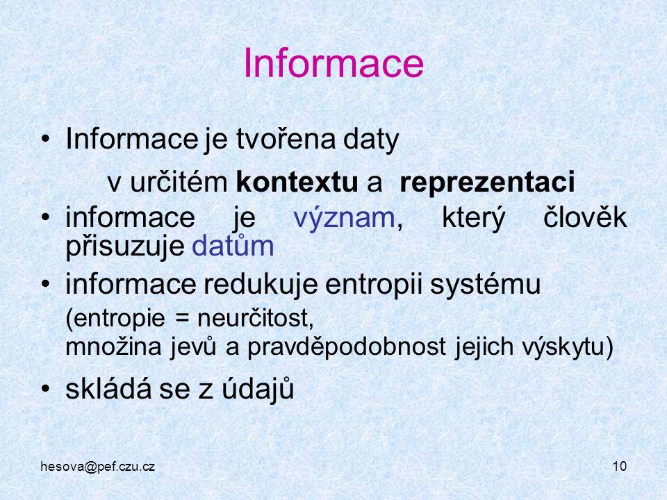 Informace Informace je tvořena daty v určitém kontextu a reprezentaci