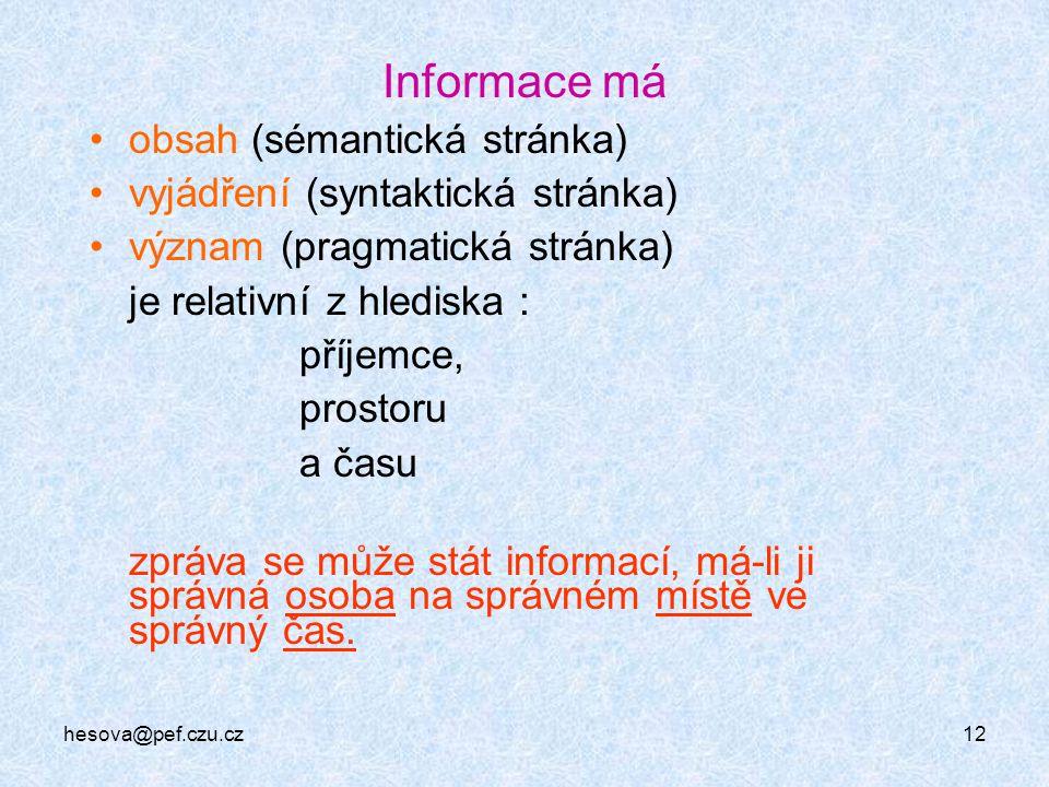 Informace má obsah (sémantická stránka)