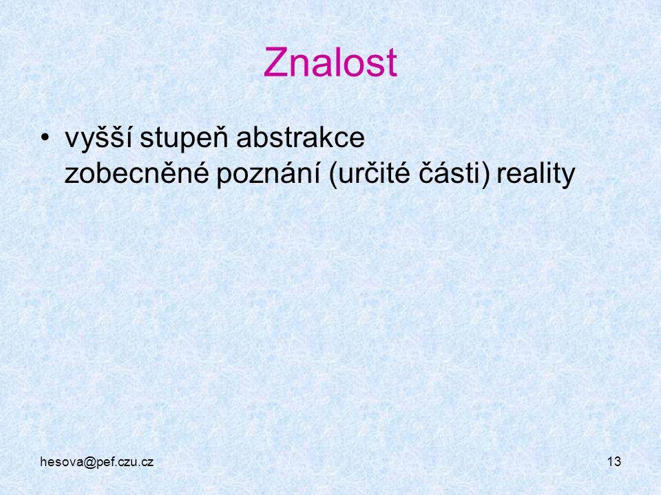 Znalost vyšší stupeň abstrakce zobecněné poznání (určité části) reality hesova@pef.czu.cz