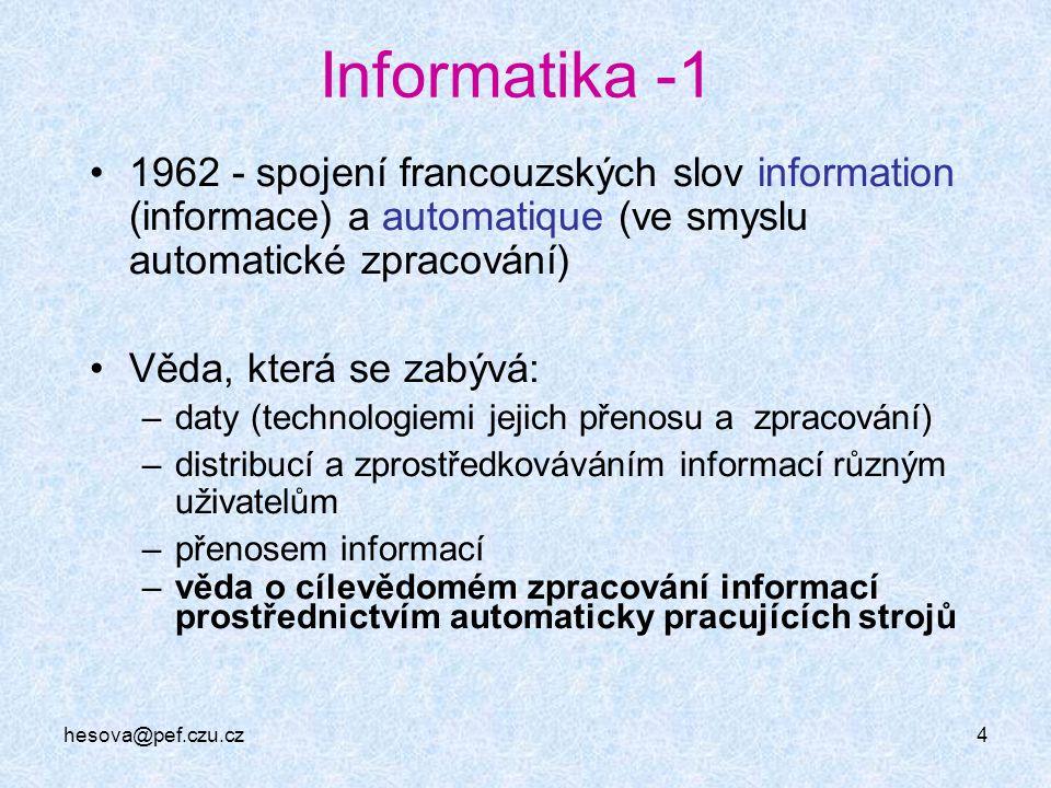 Informatika -1 1962 - spojení francouzských slov information (informace) a automatique (ve smyslu automatické zpracování)