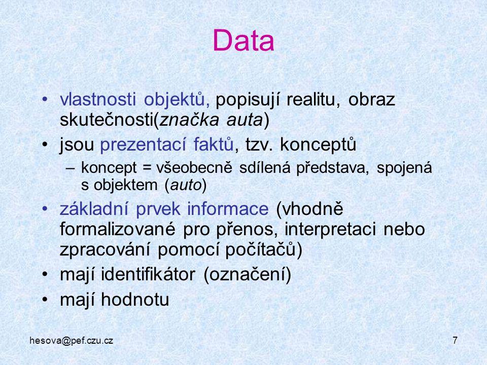 Data vlastnosti objektů, popisují realitu, obraz skutečnosti(značka auta) jsou prezentací faktů, tzv. konceptů.