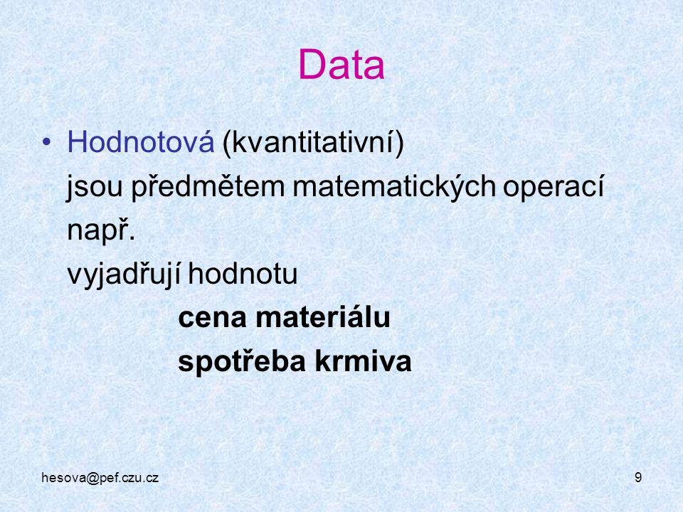 Data Hodnotová (kvantitativní) jsou předmětem matematických operací