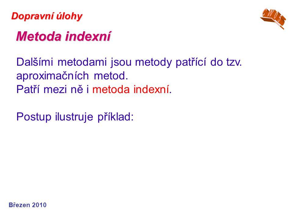 Dopravní úlohy CW05. Metoda indexní. Dalšími metodami jsou metody patřící do tzv. aproximačních metod.