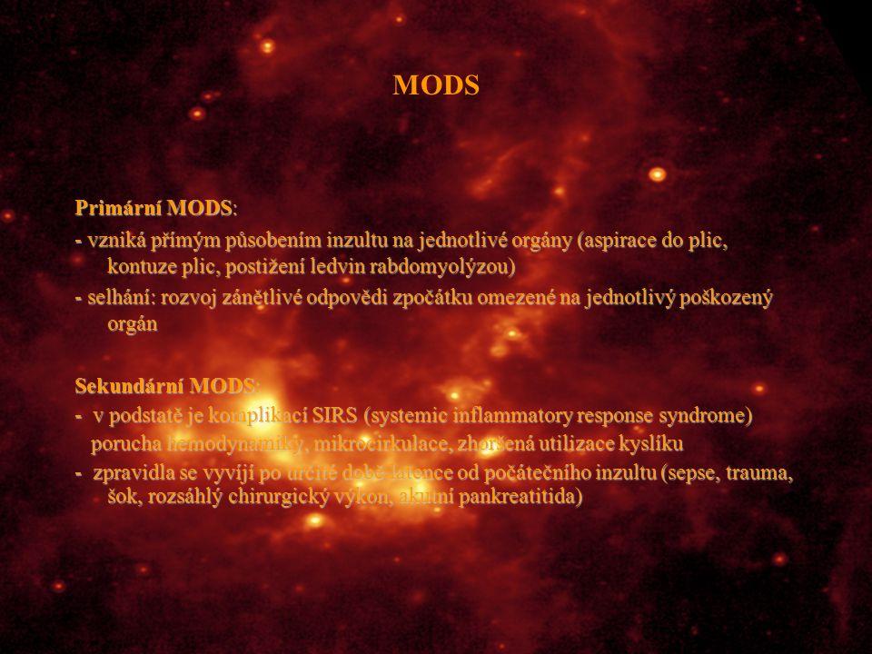 MODS Primární MODS: - vzniká přímým působením inzultu na jednotlivé orgány (aspirace do plic, kontuze plic, postižení ledvin rabdomyolýzou)