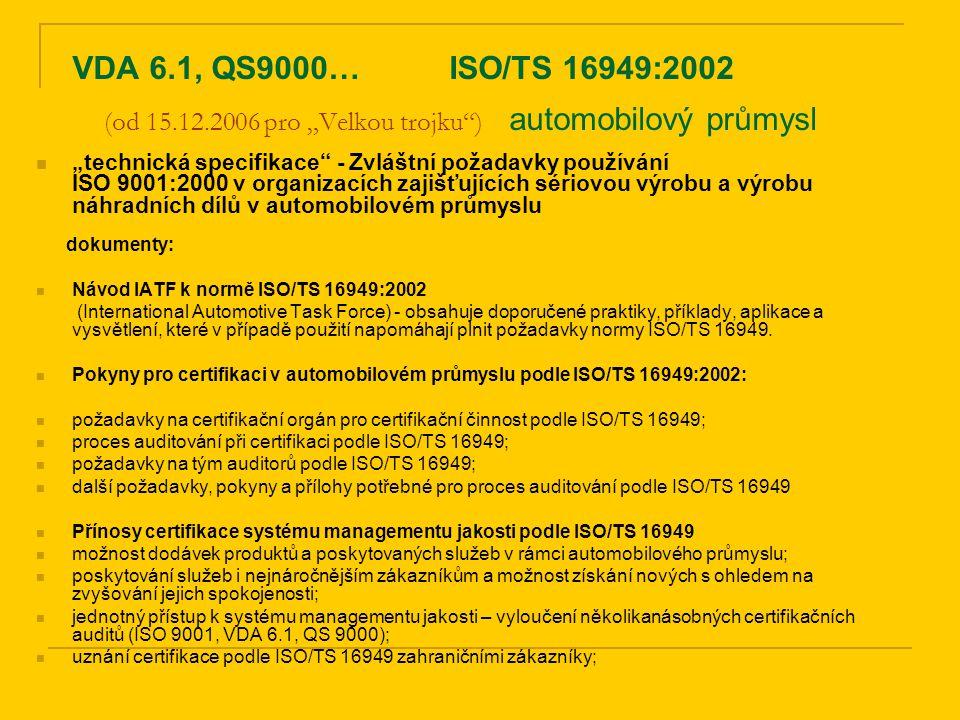 """VDA 6.1, QS9000… ISO/TS 16949:2002 (od 15.12.2006 pro """"Velkou trojku ) automobilový průmysl"""
