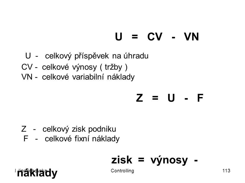 U = CV - VN U - celkový příspěvek na úhradu CV - celkové výnosy ( tržby ) VN - celkové variabilní náklady Z = U - F Z - celkový zisk podniku F - celkové fixní náklady zisk = výnosy - náklady