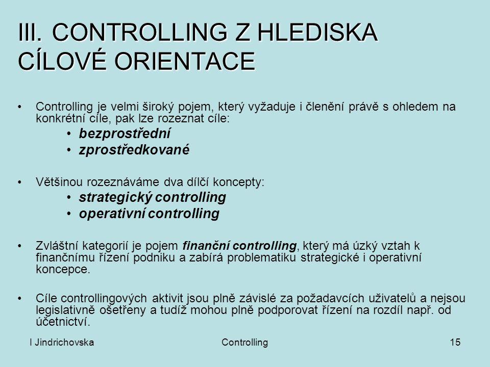 III. CONTROLLING Z HLEDISKA CÍLOVÉ ORIENTACE