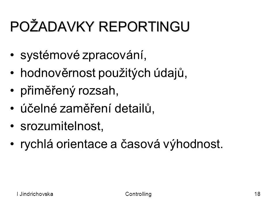 POŽADAVKY REPORTINGU systémové zpracování,