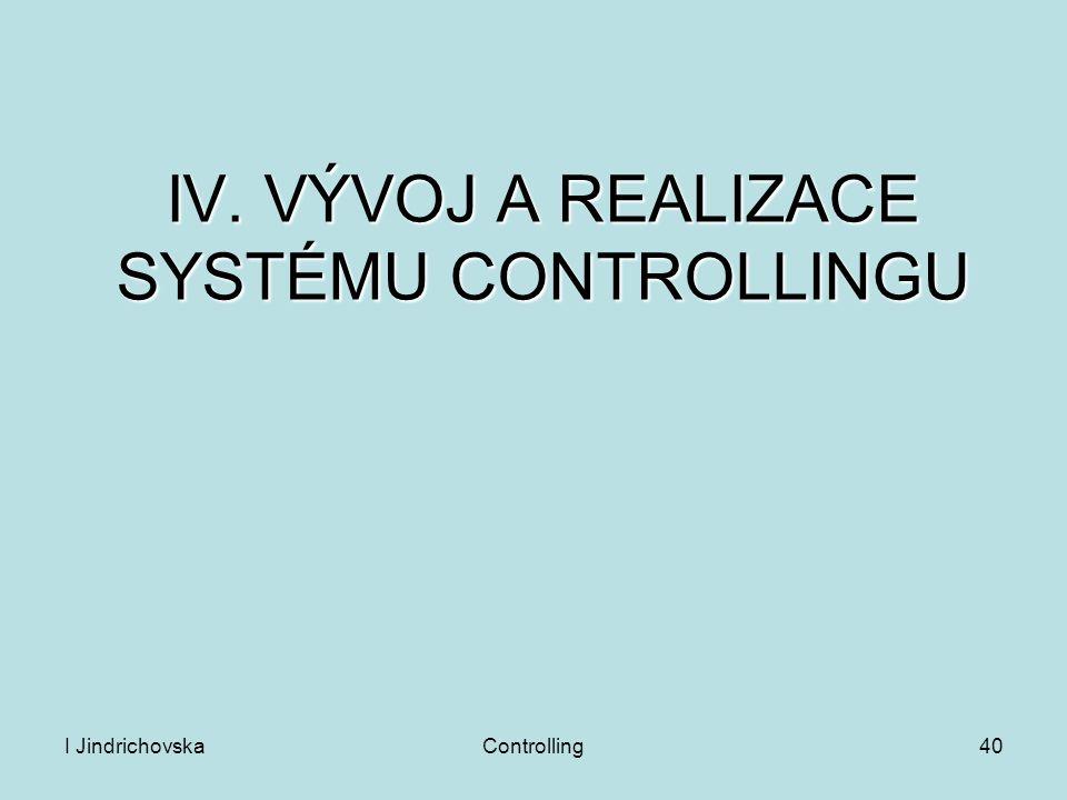 IV. VÝVOJ A REALIZACE SYSTÉMU CONTROLLINGU