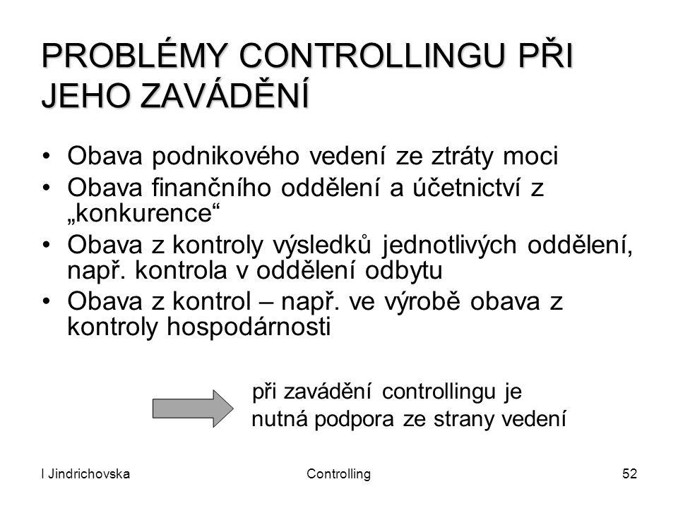 PROBLÉMY CONTROLLINGU PŘI JEHO ZAVÁDĚNÍ