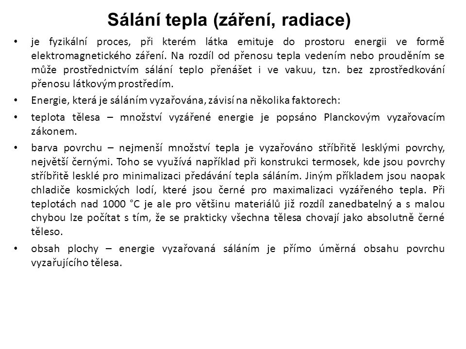 Sálání tepla (záření, radiace)