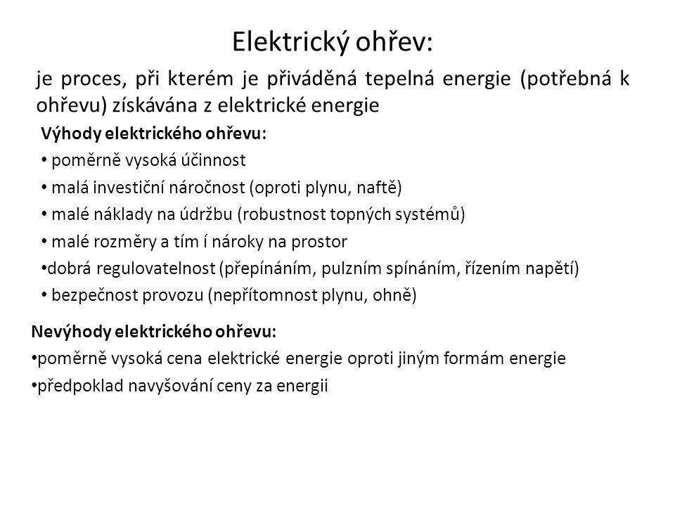 Elektrický ohřev: je proces, při kterém je přiváděná tepelná energie (potřebná k ohřevu) získávána z elektrické energie.