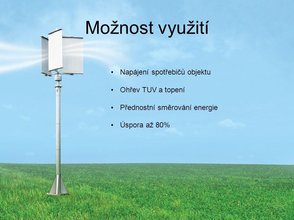 Možnost využití Napájení spotřebičů objektu Ohřev TUV a topení
