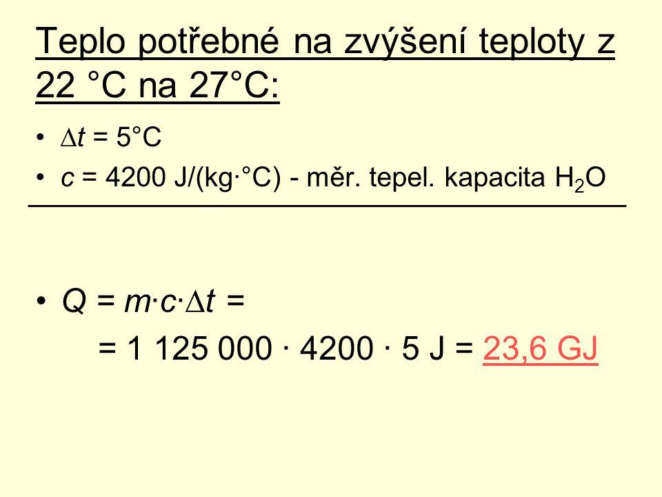 Teplo potřebné na zvýšení teploty z 22 °C na 27°C: