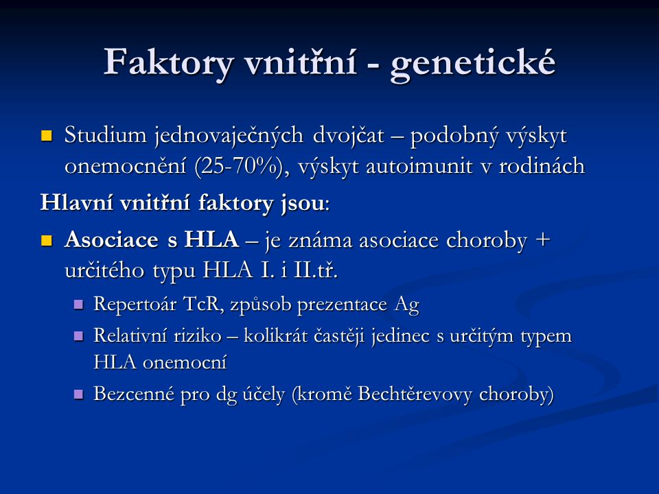 Faktory vnitřní - genetické