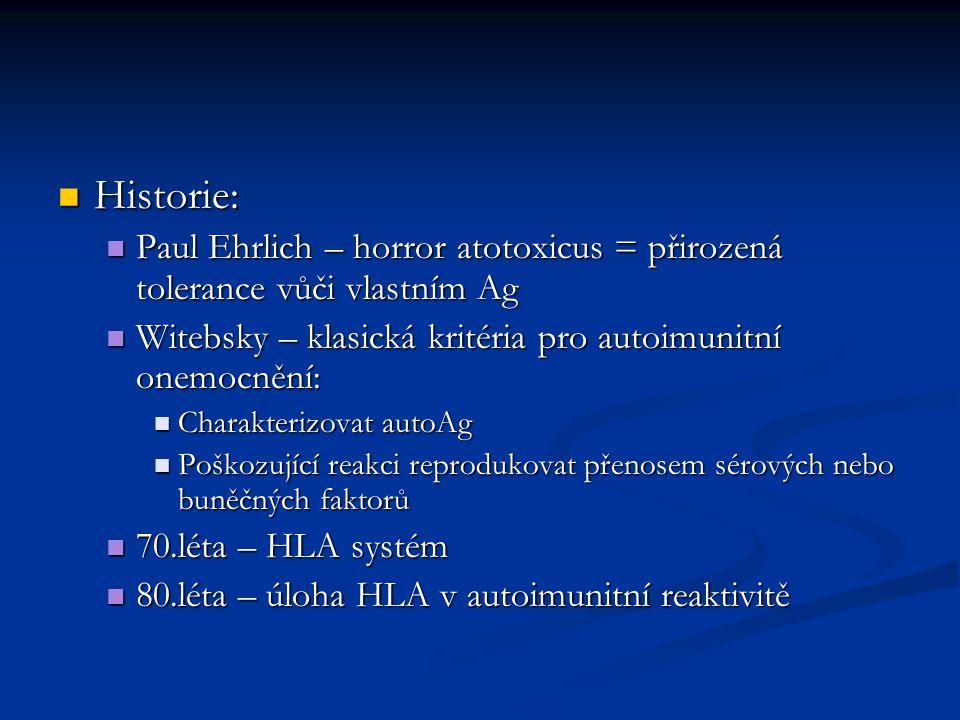 Historie: Paul Ehrlich – horror atotoxicus = přirozená tolerance vůči vlastním Ag. Witebsky – klasická kritéria pro autoimunitní onemocnění: