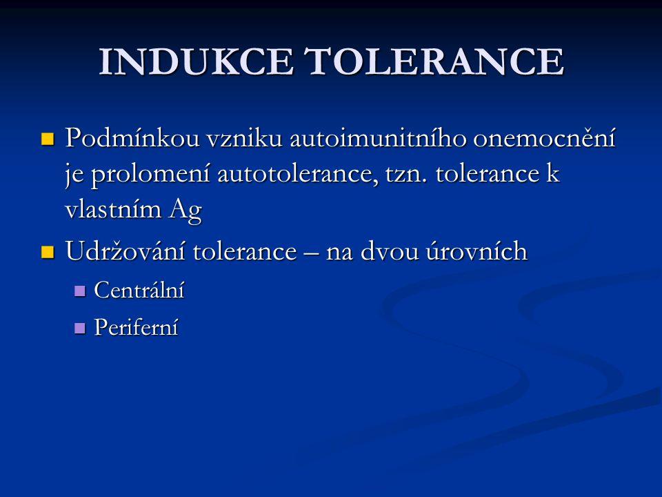 INDUKCE TOLERANCE Podmínkou vzniku autoimunitního onemocnění je prolomení autotolerance, tzn. tolerance k vlastním Ag.