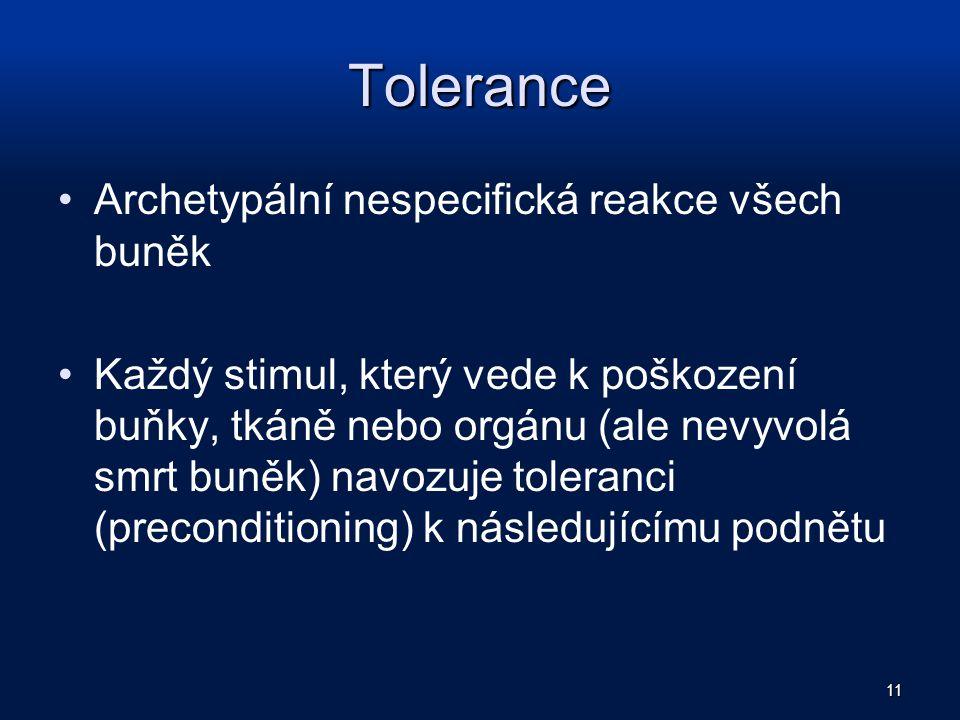 Tolerance Archetypální nespecifická reakce všech buněk