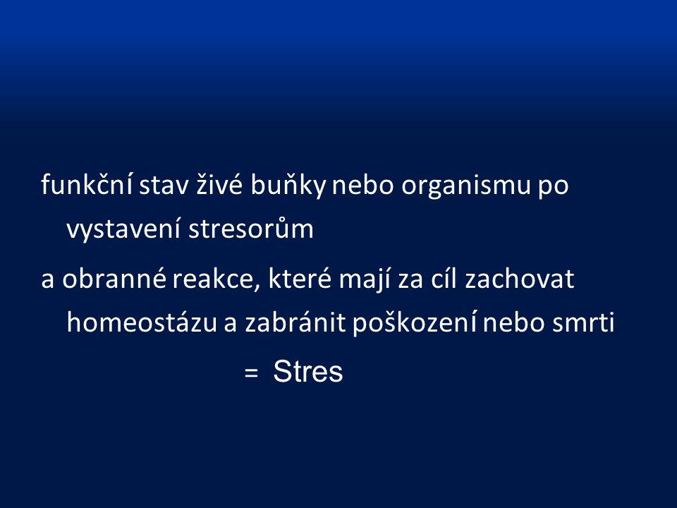 funkční stav živé buňky nebo organismu po vystavení stresorům