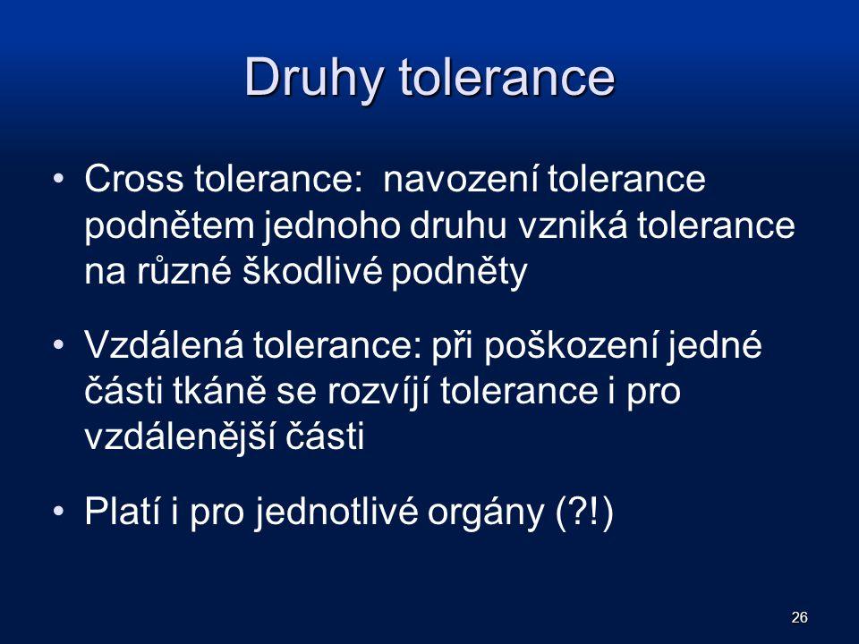 Druhy tolerance Cross tolerance: navození tolerance podnětem jednoho druhu vzniká tolerance na různé škodlivé podněty.
