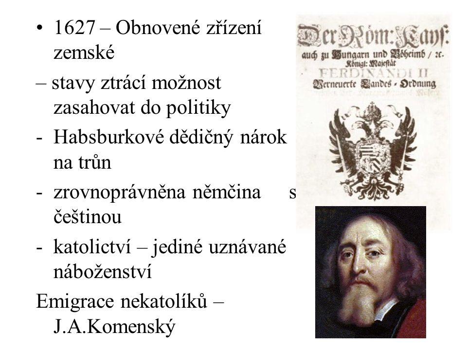 1627 – Obnovené zřízení zemské