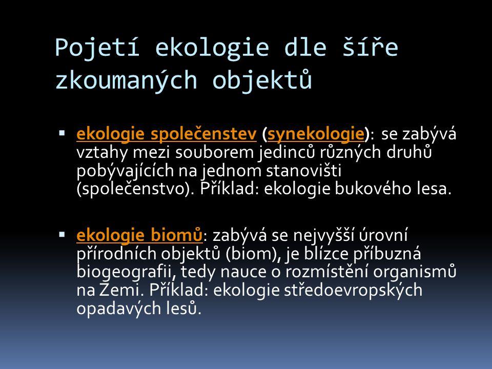 Pojetí ekologie dle šíře zkoumaných objektů