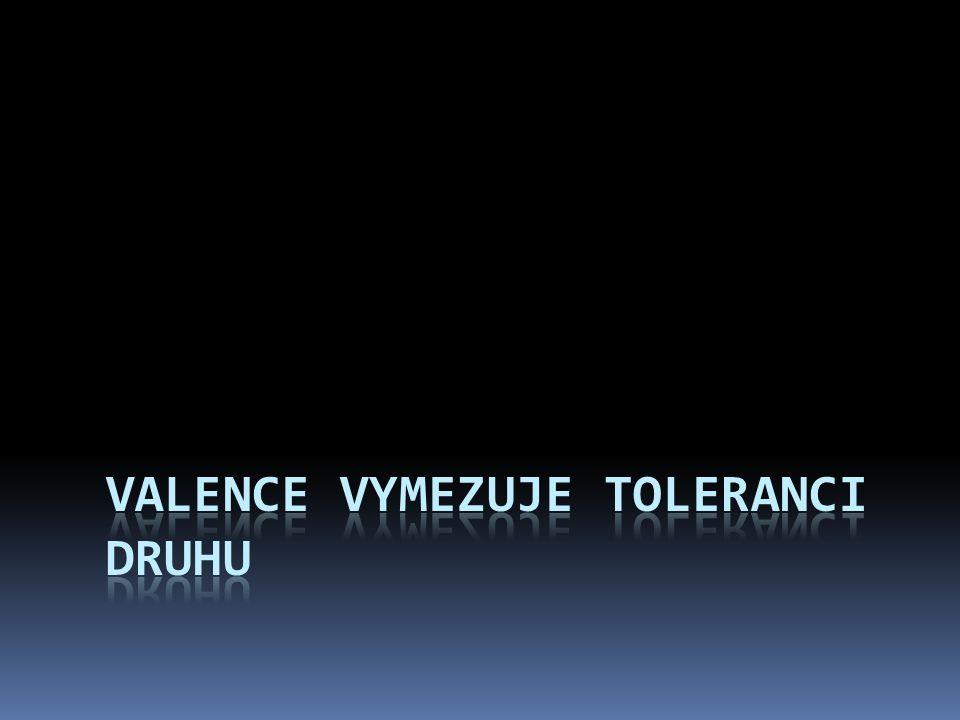 Valence vymezuje toleranci druhu