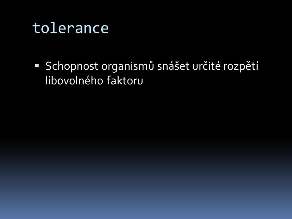 tolerance Schopnost organismů snášet určité rozpětí libovolného faktoru