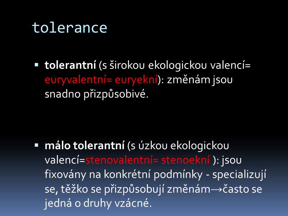 tolerance tolerantní (s širokou ekologickou valencí= euryvalentní= euryekní): změnám jsou snadno přizpůsobivé.