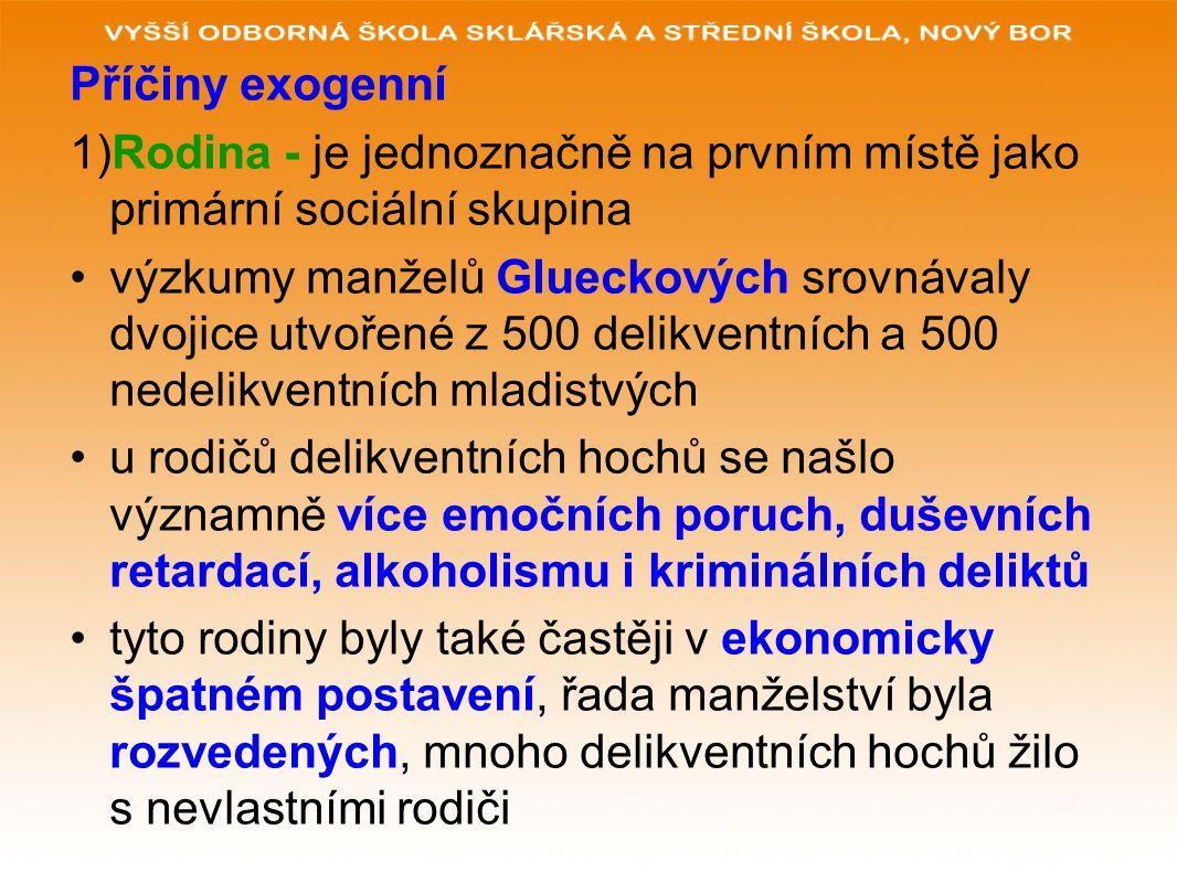 Příčiny exogenní 1)Rodina - je jednoznačně na prvním místě jako primární sociální skupina.