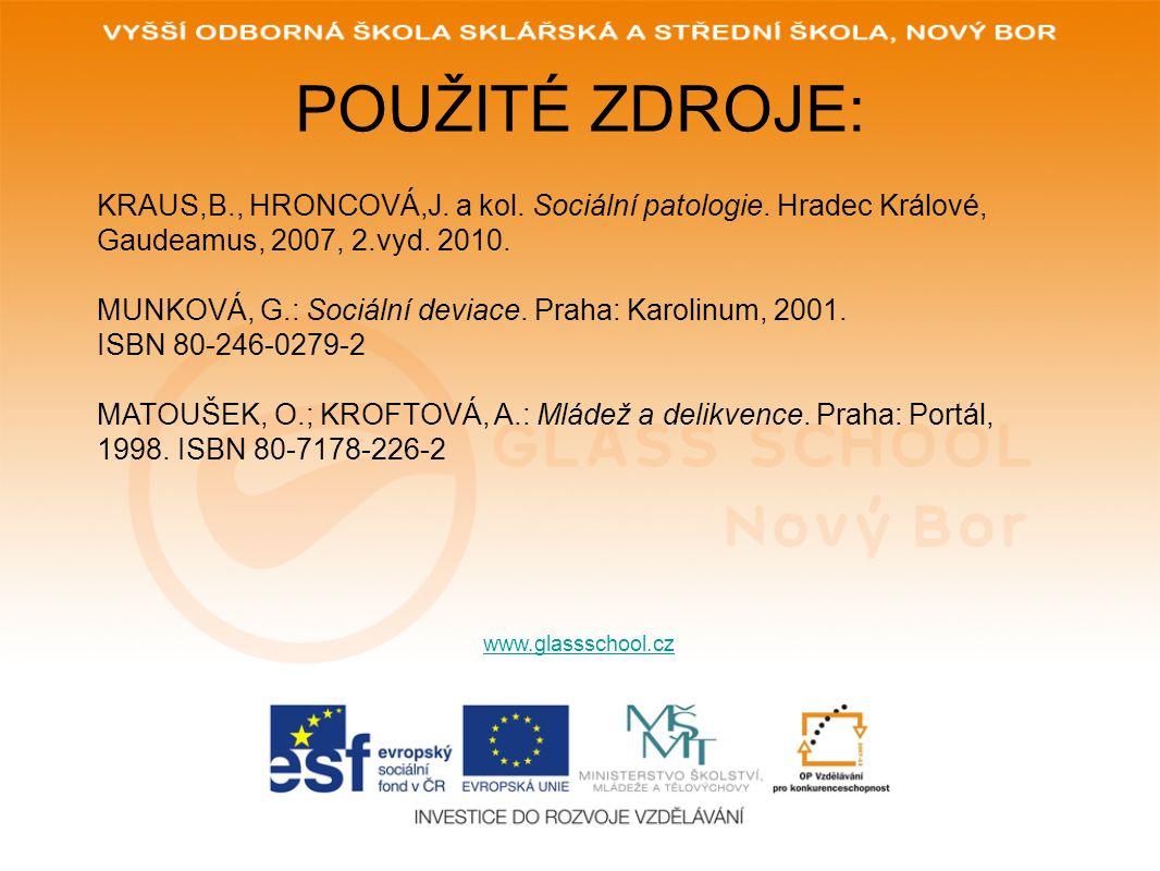 POUŽITÉ ZDROJE: KRAUS,B., HRONCOVÁ,J. a kol. Sociální patologie. Hradec Králové, Gaudeamus, 2007, 2.vyd. 2010.