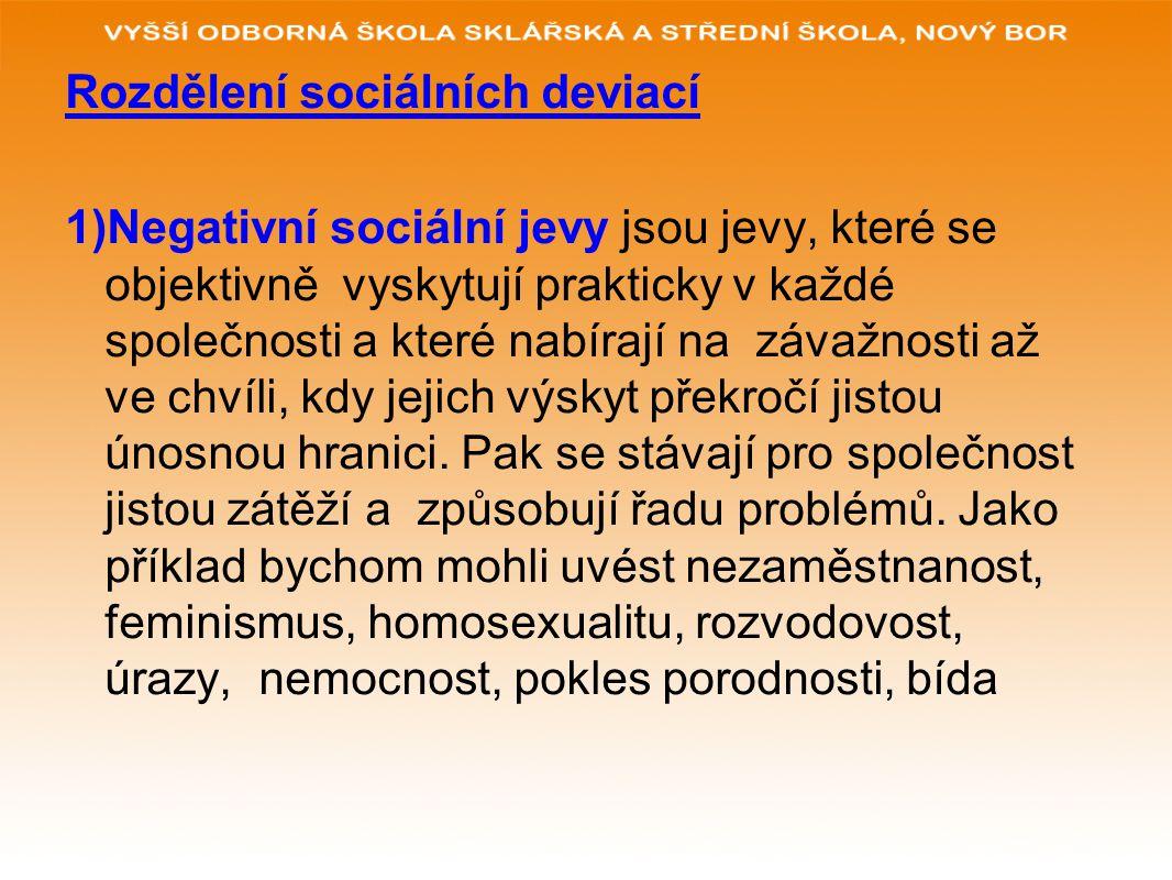 Rozdělení sociálních deviací 1)Negativní sociální jevy jsou jevy, které se objektivně vyskytují prakticky v každé společnosti a které nabírají na závažnosti až ve chvíli, kdy jejich výskyt překročí jistou únosnou hranici.