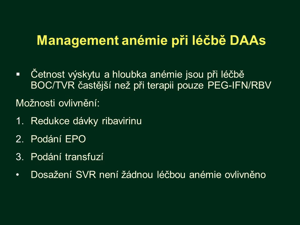Management anémie při léčbě DAAs