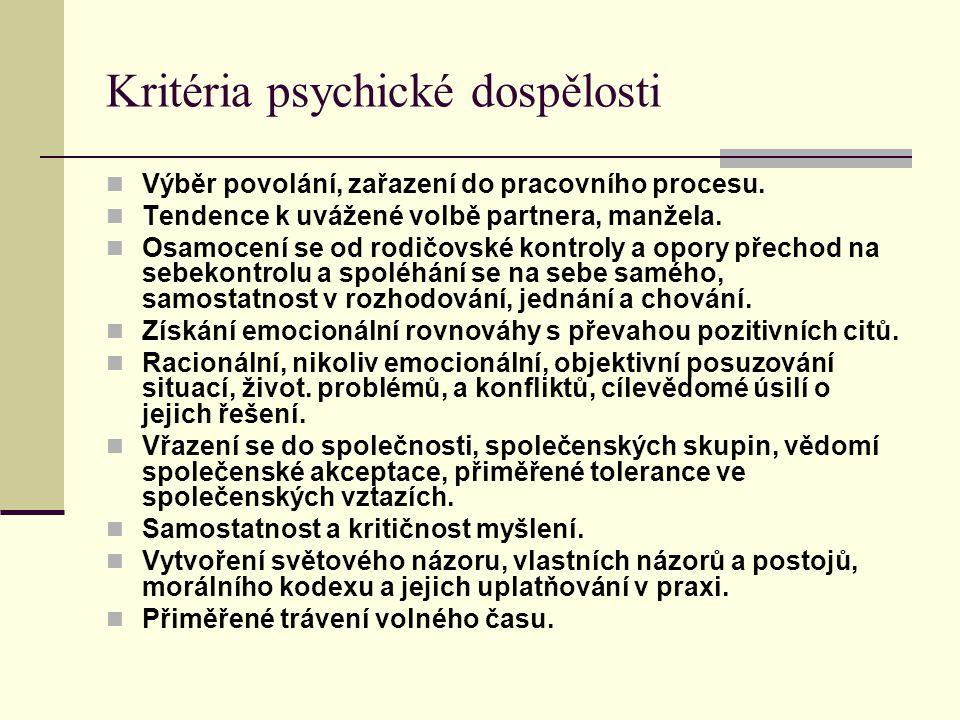 Kritéria psychické dospělosti